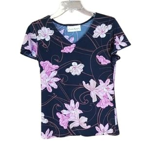 Cladia Richard Black Short Sleeve Floral Top
